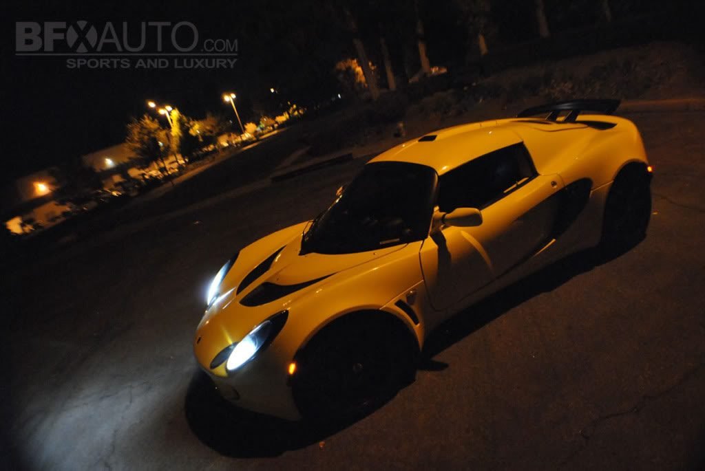 yellow lotus exige with hids at night